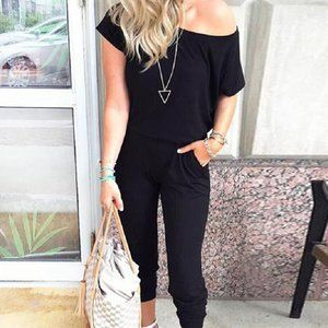 NEW BLACK OFF SHOULDER JUMPSUIT PANT ROMPER